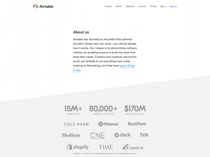 a screenshot for the about page of Airtable