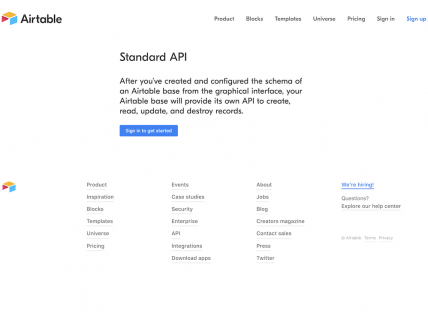 Screenshot of the API page from the Airtable website.