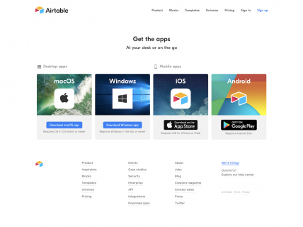 Screenshot of the Downloads page from the Airtable website.