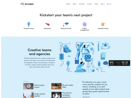Screenshot of the Inspiration page from the Airtable website.