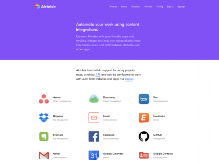 a screenshot for the Integrations page of Airtable