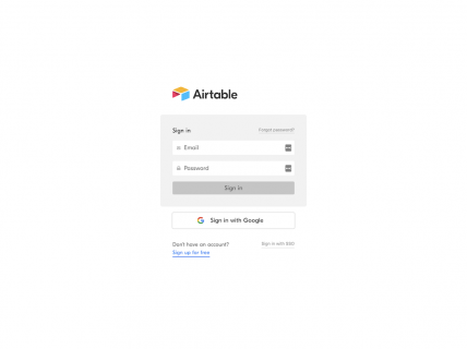 a screenshot for the login page of Airtable