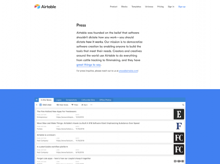 a screenshot for the press page of Airtable