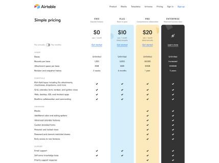 Screenshot of the Pricing page from the Airtable website.
