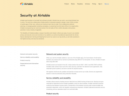 a screenshot for the security page of Airtable