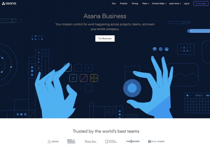Screenshot of the Business page from the Asana website.
