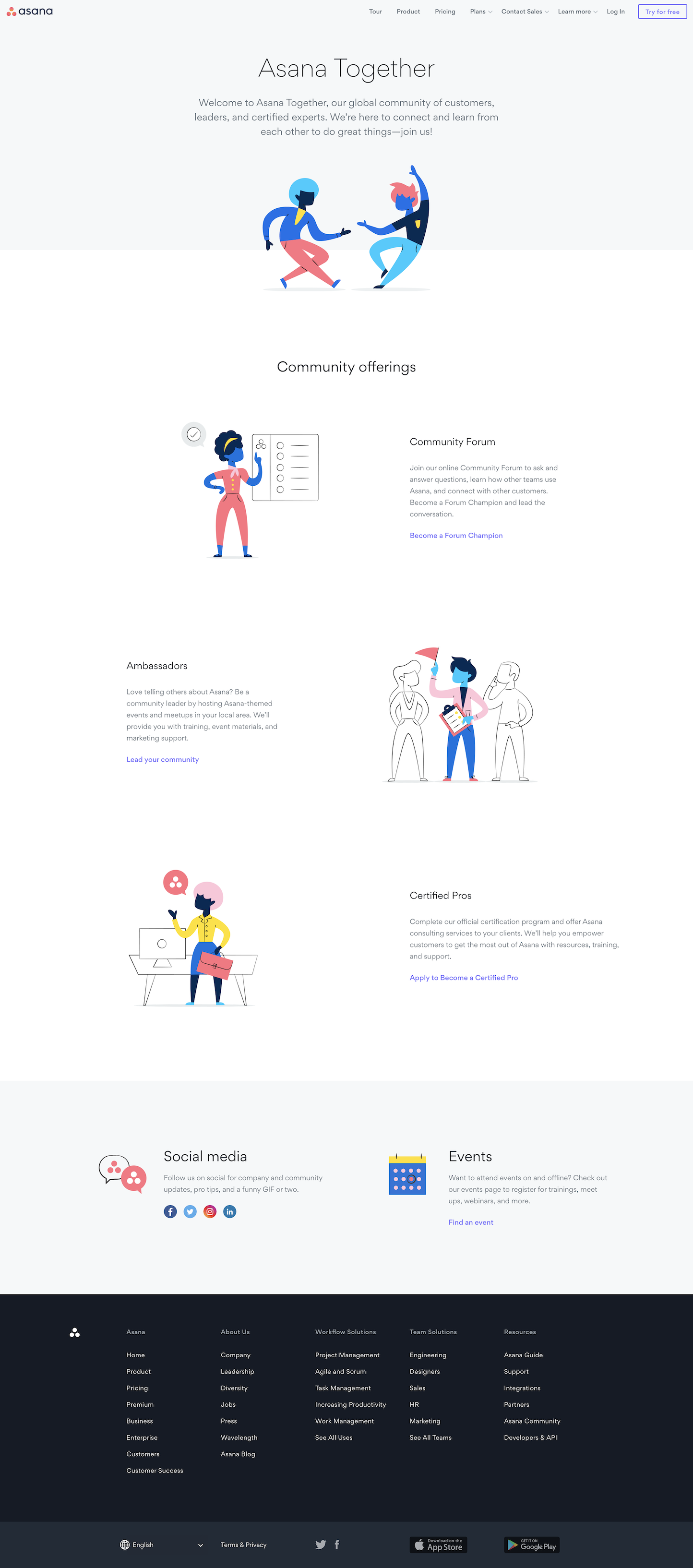 Screenshot of the Community page from the Asana website.