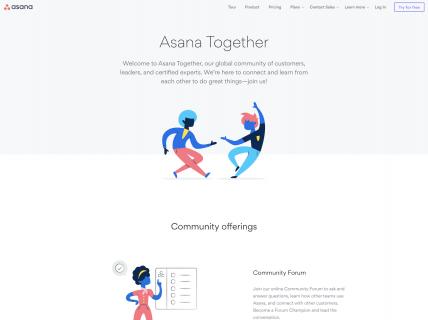 screenshot of the asana community page
