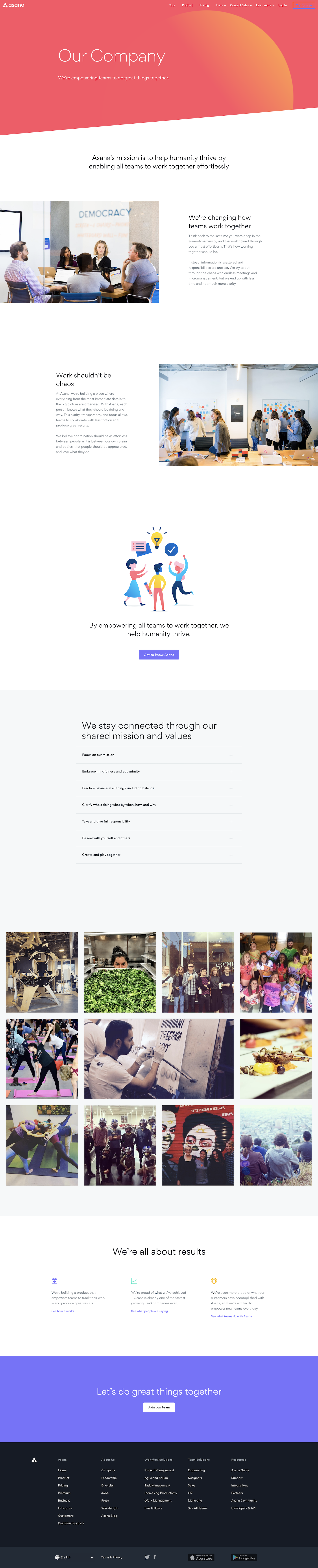 Screenshot of the Company page from the Asana website.