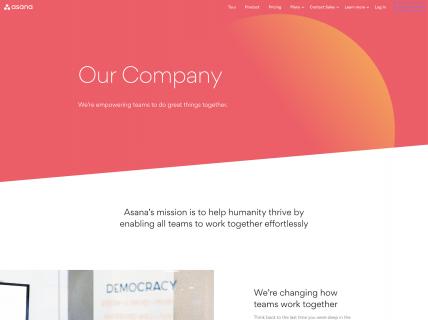 screenshot of the asana company page