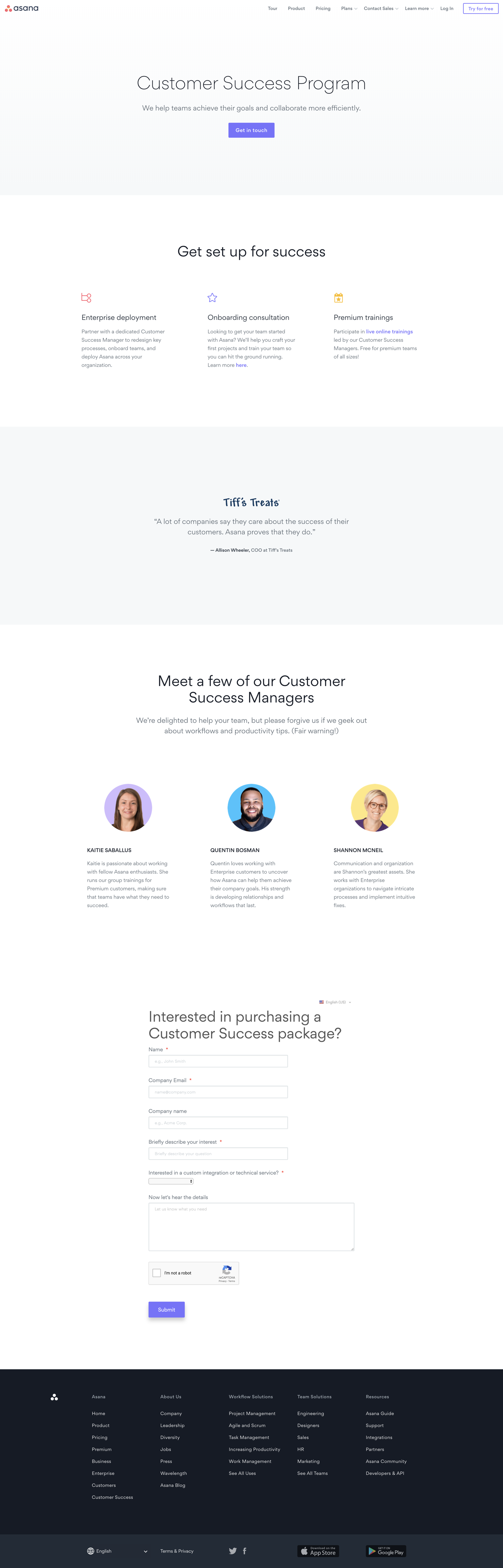 Screenshot of the Customer Success page from the Asana website.