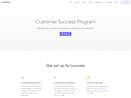 screenshot of the asana customer success page