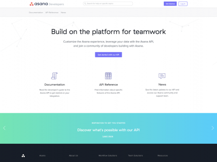 Screenshot of the Developers page from the Asana website.