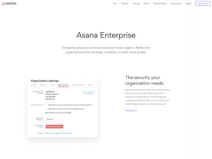screenshot of the asana enterprise page