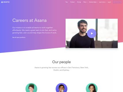 screenshot of the asana careers page