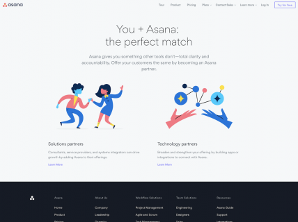 Screenshot of the Partners page from the Asana website.