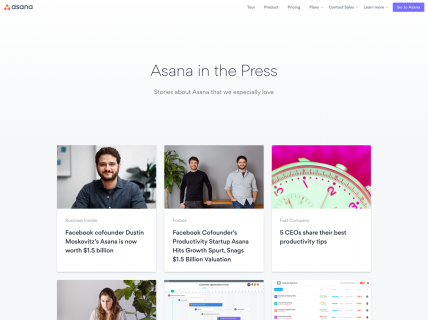 Screenshot of the Press page from the Asana website.