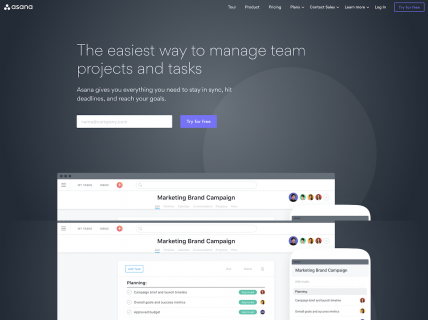 Screenshot of the Product page from the Asana website.