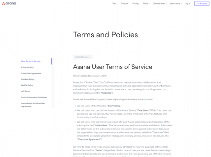 screenshot of the asana terms of service page