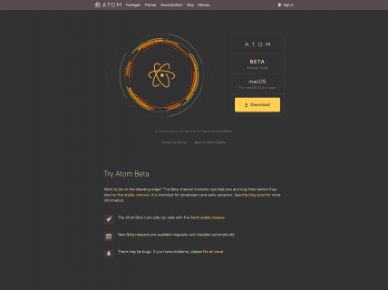 A screenshot for the atom beta product page