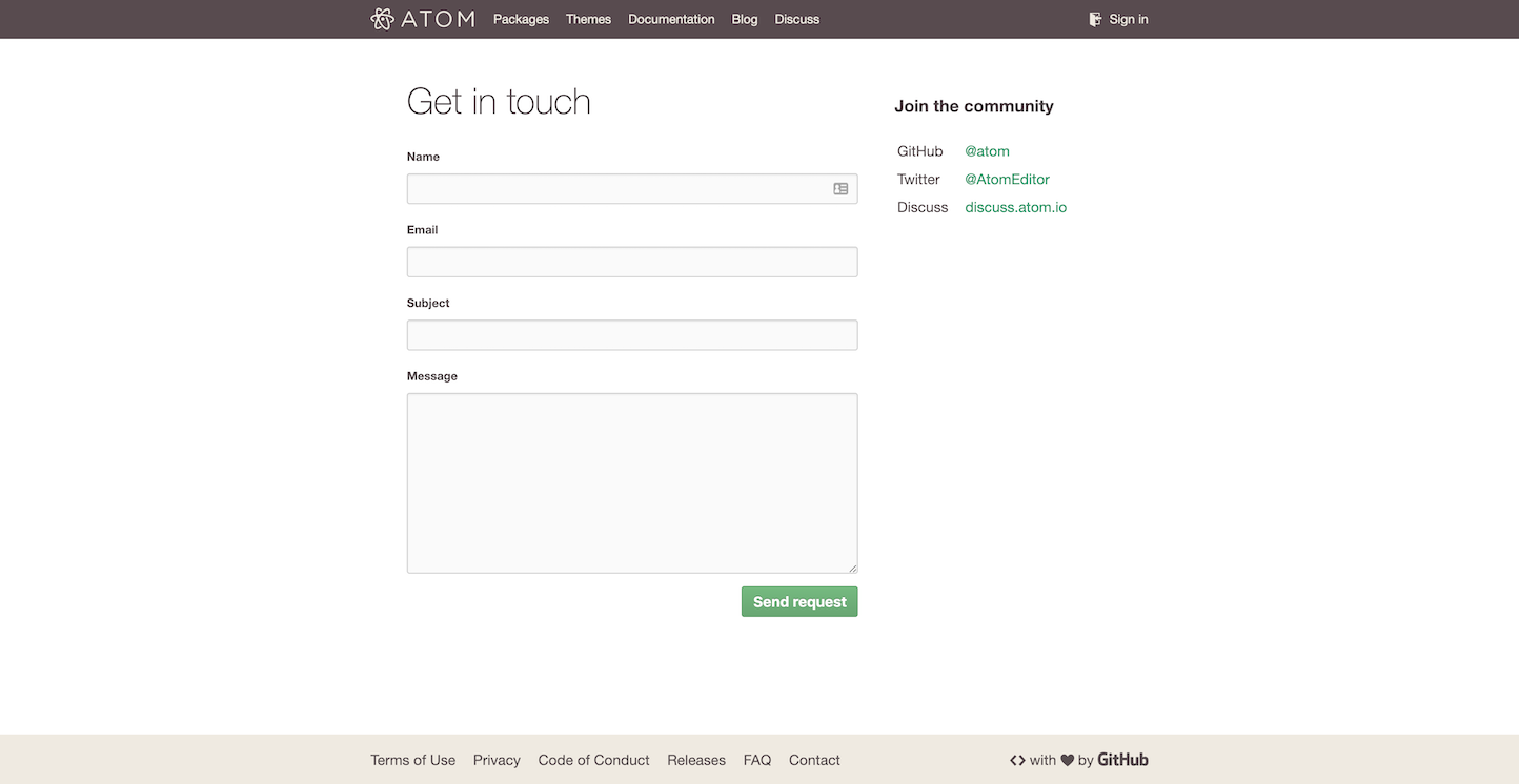 Screenshot of the Contact page from the Atom Text Editor website.