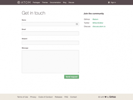 A screenshot for the atom contact page