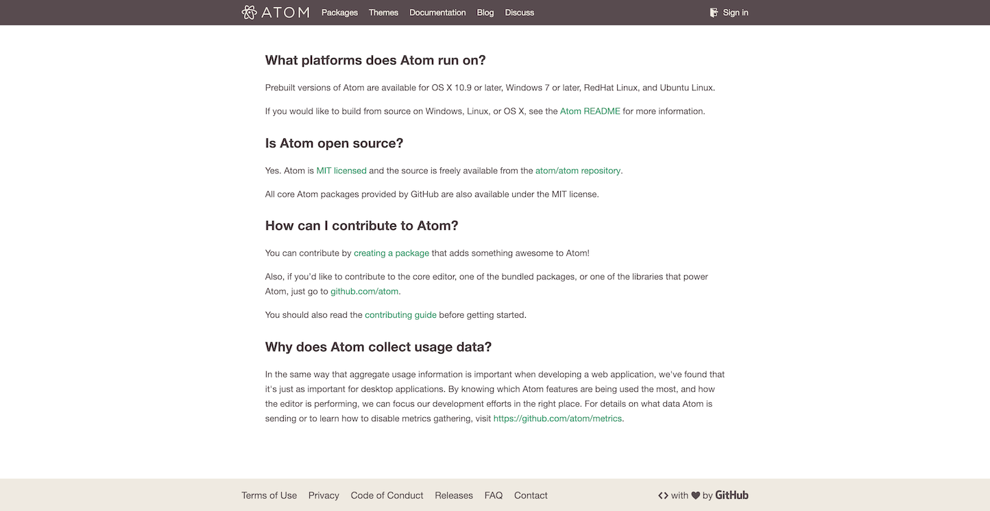 Screenshot of the FAQ page from the Atom Text Editor website.
