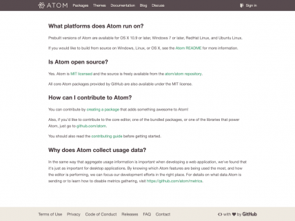 A screenshot for the atom faq page