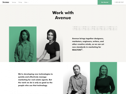 a screenshot of the careers page for Avenue