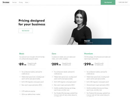 a screenshot of the pricing page for Avenue