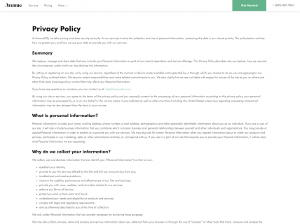 a screenshot of the privacy policy page for Avenue