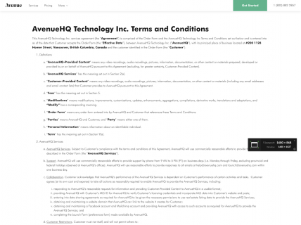 a screenshot of the terms & conditions page for Avenue