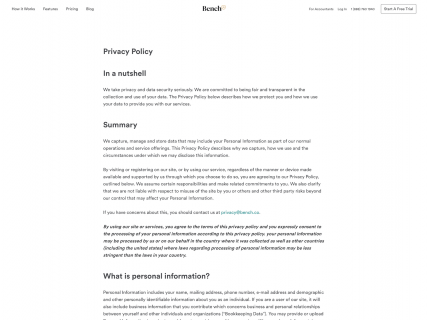 Screenshot of the Privacy Policy page from the Bench website.