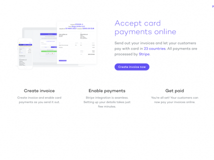 Screenshot of the Accept Credit Card Payments page from the Bill Dogg website.
