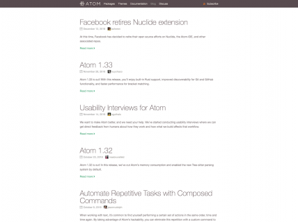 Screenshot of the Blog page from the Atom Text Editor website.