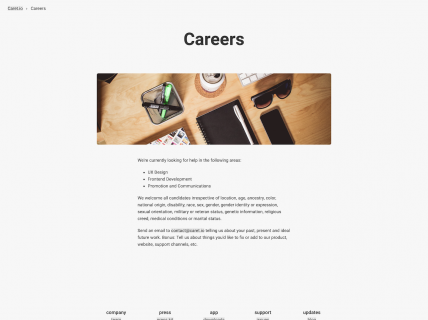 a screenshot of the caret careers page