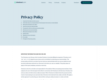 Screenshot of the Privacy Policy page from the Checkout website.