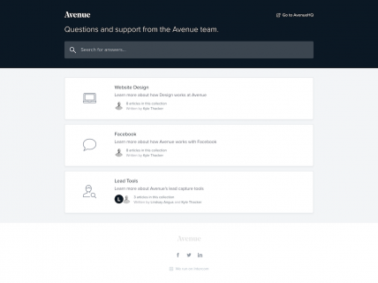 a screenshot of the support page for Avenue