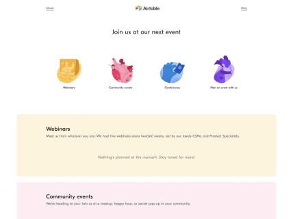 a screenshot for the events page of Airtable