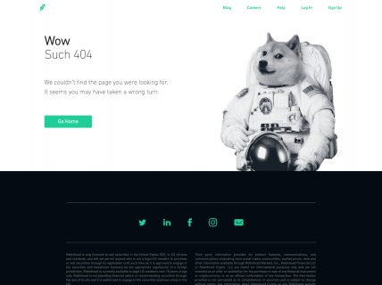 Screenshot of the 404 page from the Robinhood website.