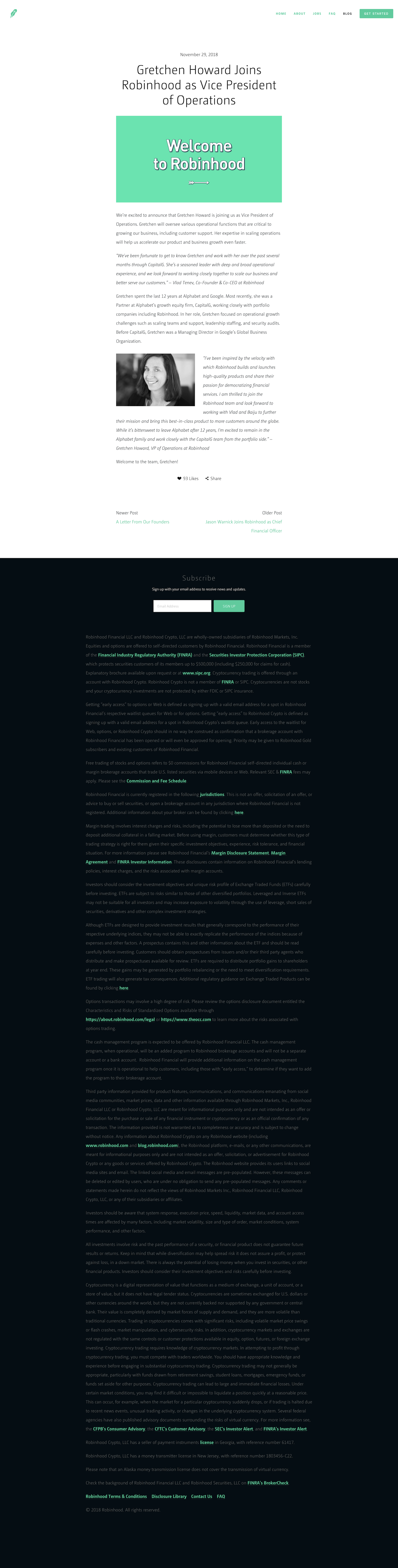 Screenshot of the Blog - Article page from the Robinhood website.