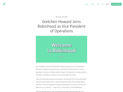 Screenshot of the Blog – Article page from the Robinhood website.
