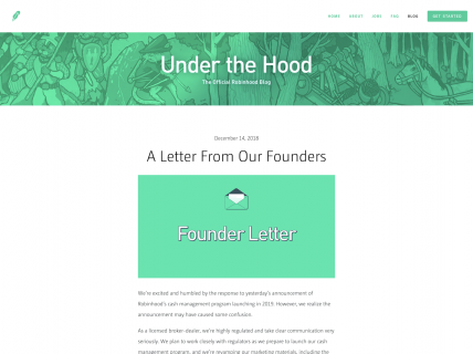 Screenshot of the Blog – Main page from the Robinhood website.