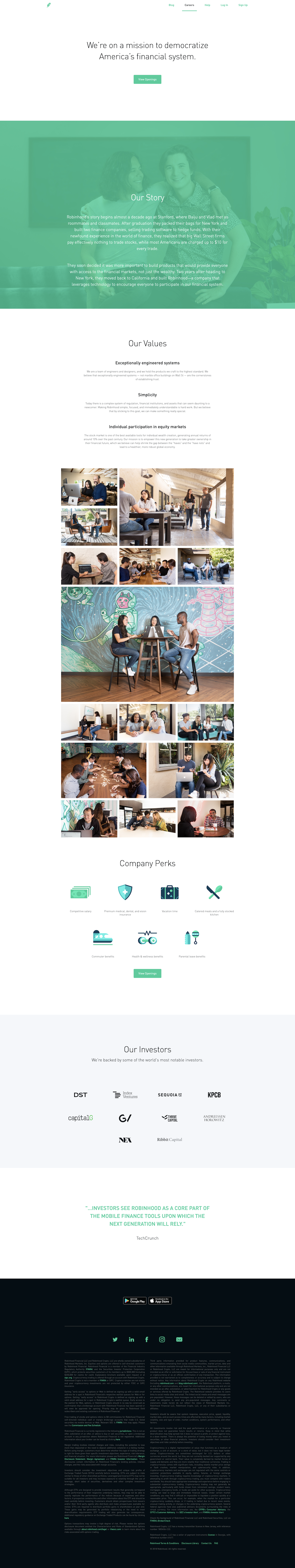 Screenshot of the Careers - Main page from the Robinhood website.