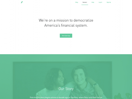 Screenshot of the Careers – Main page from the Robinhood website.