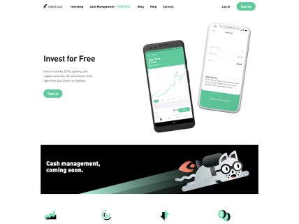 Screenshot of the Home page from the Robinhood website.