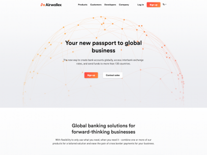 Screenshot of the Home page from the Airwallex website.