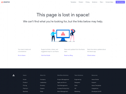 Screenshot of the 404 page from the Asana website.