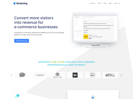 Screenshot of the Home page from the Beeketing website.