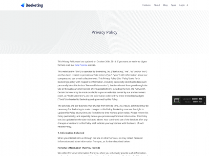Screenshot of the Privacy Policy page from the Beeketing website.